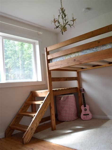 loft bed plans with stairs ana white c loft bed with stair junior height diy