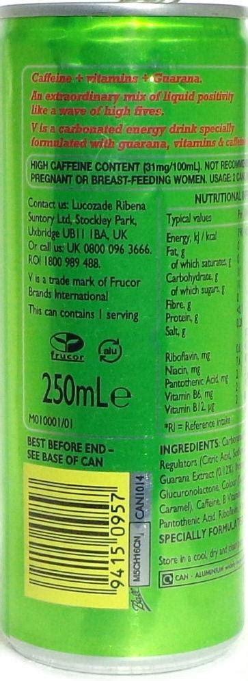 v energy drink ingredients v energy drink 250ml great britain