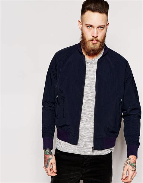 blue collar blue collar worker bomber jacket in blue for lyst