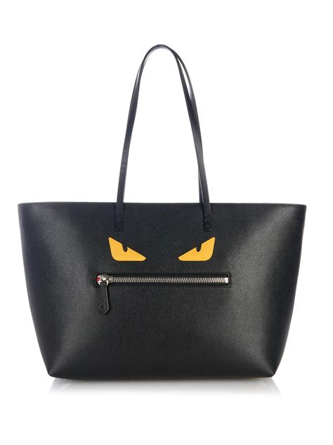 Fendi Leather Tote Set 2face 1 fendi roll leather tote in black lyst