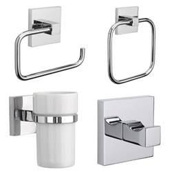 Croydex Bathroom Accessories Croydex Brompton Flexi Fix Chrome Wall Mounted X Plate Bathroom Accessories Set Ebay