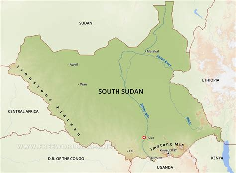 south sudan map south sudan physical map