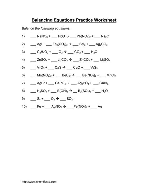 worksheet balancing chemical equations practice worksheet