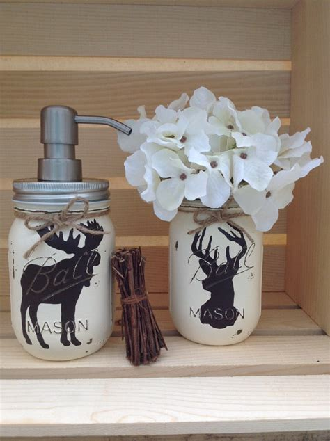 moose themed bathroom choose 1 mason jar soap dispenser rustic decor deer