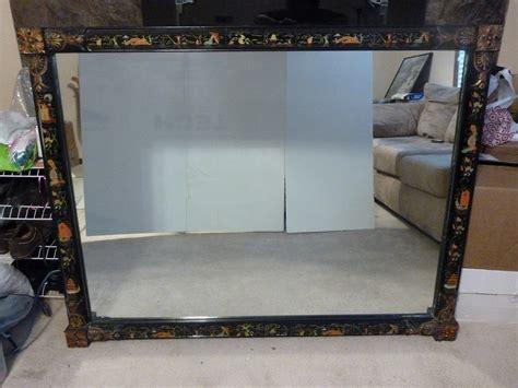 Vintage Painted Tri Fold Room Vintage Mirror With Painted Figures On Tri