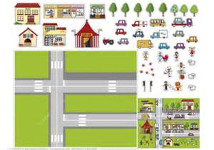 printable paper roads paper collage with houses transport and roads free