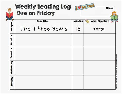 printable reading log for kindergarten little bird kindergarten reading log freebie