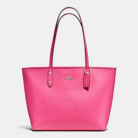 coach f37785 city zip tote in crossgrain leather imitation gold dahlia coach handbags