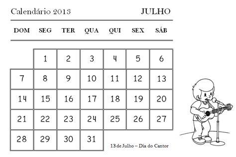 Calendario 9 De Julho Atividades Escolares Calend 225 2013 Julho