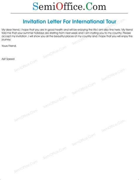 Invitation Letter To A Friend To Visit Your Country Invitation Letter For International Tour