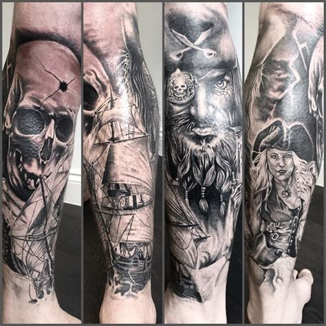 pirate sleeve tattoo designs aaron clarke hhahsu pirate tattoos sleeve tattoos