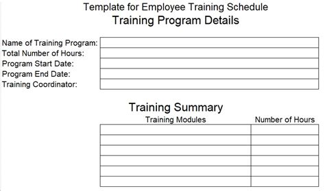 employee training schedule template for new employees