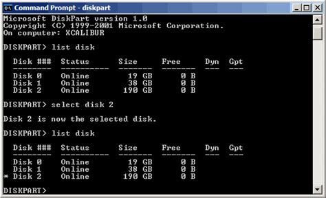 diskpart xp format command take command of disk management in windows xp with