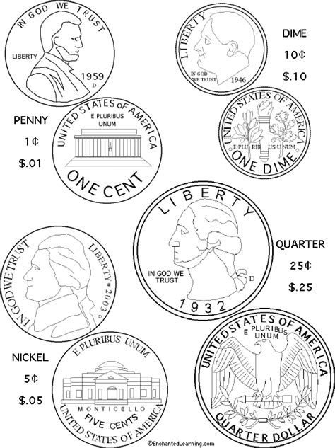 printable picture of quarter us coins coloring page printout enchanted learning