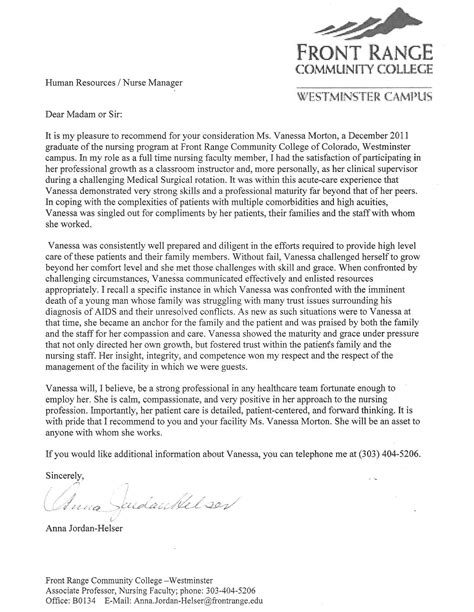 Reference Letter For Np Student Letter Of Recommendation R Morton R N