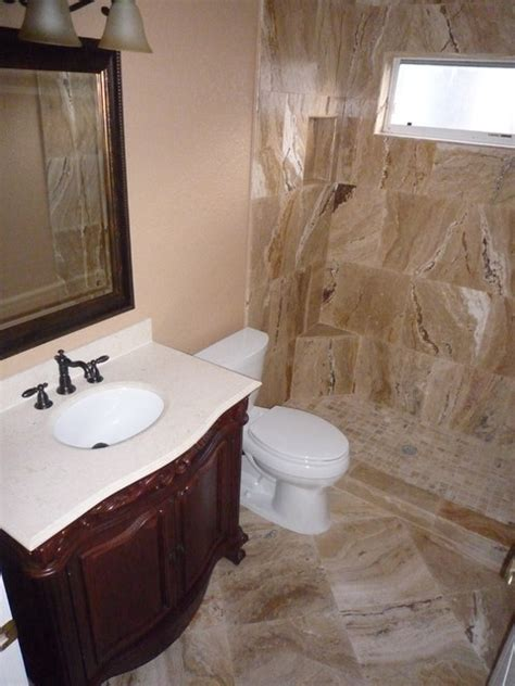 leonardo travertine for bathroom remodel traditional