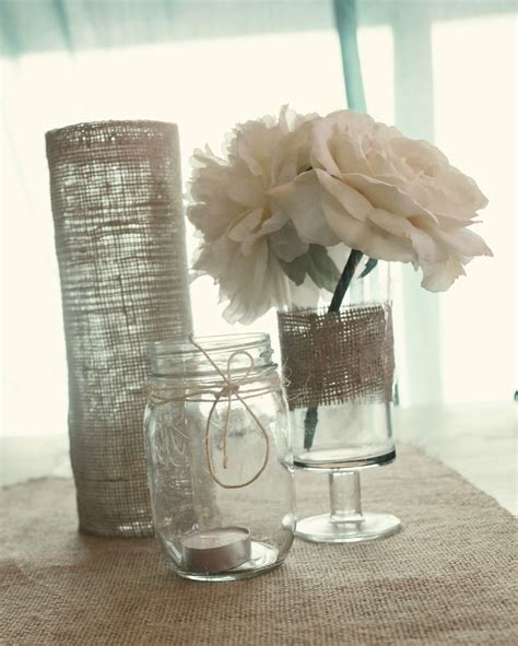 Simple Jar Centerpieces Simple Jar Burlap Wedding Centerpieces Ipunya