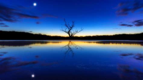 wallpaper blue landscape blue landscape a tree reflecting river sunset moon