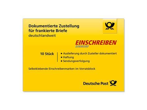 Adressaufkleber Briefkasten by Einschreiben Einwurf Shop Deutsche Post