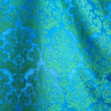 blue green upholstery fabric vintage damask upholstery fabric 8 yards by