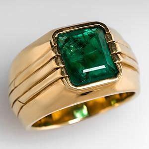 Big Sale Cartier 8071 Set estate mens emerald ring bezel set in 18k gold a