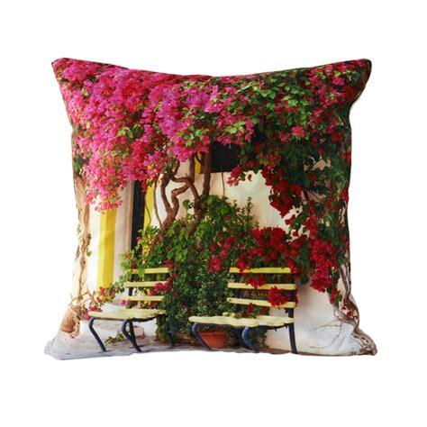 Segi Empat Linen Rubi 3d 1 Rubi 3d Design Flower Door Decorative Throw Pillows