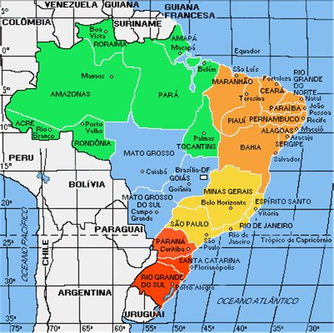 political map brazil maps map brazil