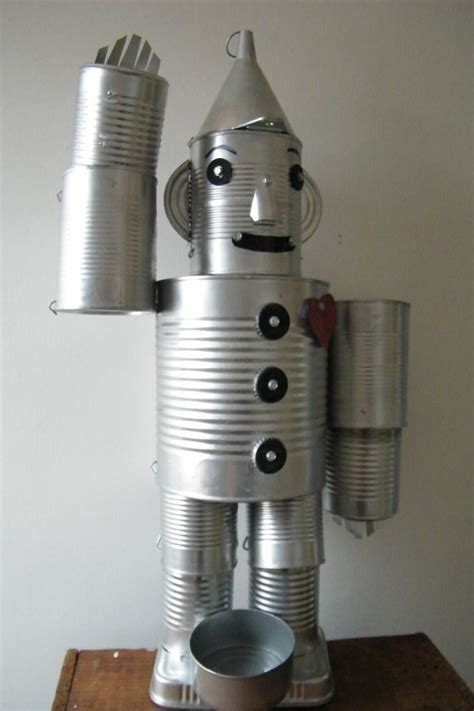 tin can robot tin aluminum can robot vintage modern folk by