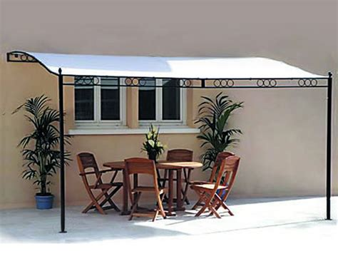 fixed gazebo 3 5m x 2 5m fixed wall metal framed patio awning pergola
