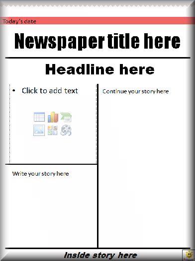Literacy Student Newspaper Template