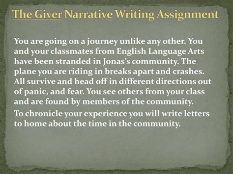 Narrative Essay Assignment by Ppt The Giver Narrative Writing Assignment Powerpoint Presentation Id 2879704