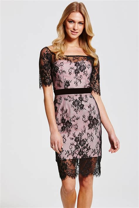 Dress Lace Pink Black outlet paper dolls black and pink lace overlay dress