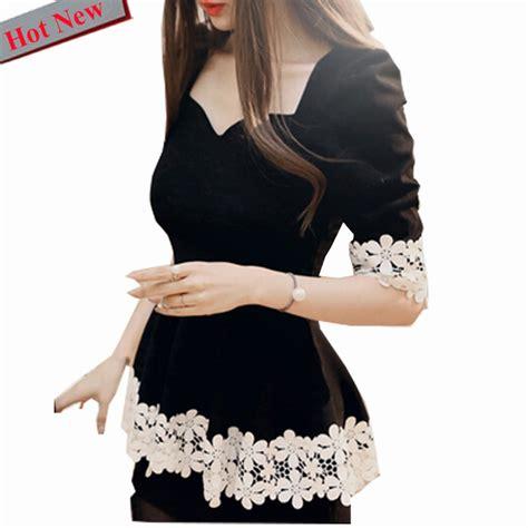 Korea Top Longsleeve Renda Blackk Wgset0161 peplum top black sweet blouses shirt autumn winter