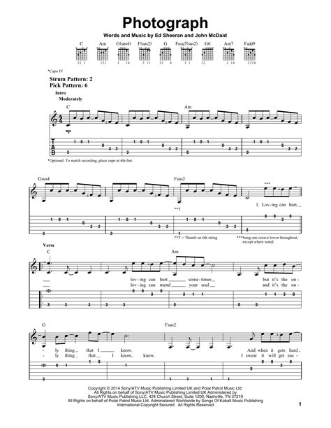 ed sheeran easy chords photograph sheet music by ed sheeran easy guitar tab