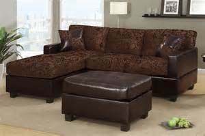 small chocolate fabric leather sectional sofa reversible