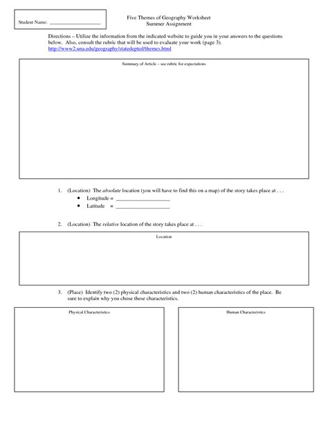 five themes of geography handout 18 best images of five themes of geography worksheets 5