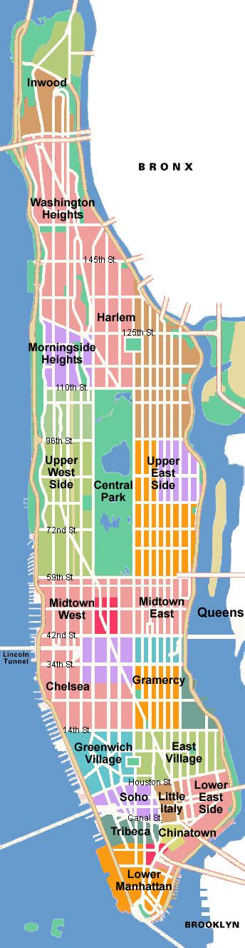 different sections of new york city map of manhattan tourist pictures map of manhattan city