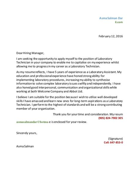 Lab Manager Cover Letter Asma Lab Tech Cover Letter