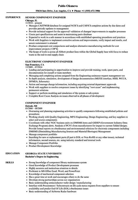 resume components component engineer resume sles velvet