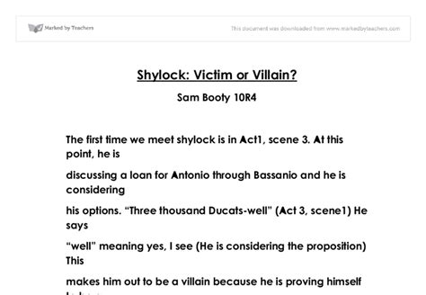 Is Shylock A Victim Or A Villain Essay by Shylock Victim Or Villain Essay Blueoniodia X Fc2
