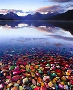 lake mcdonald montana colored rocks pebble shore lake glacier national park montana