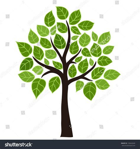 Stylized Vector Tree Green Leafs Element Stock Vector 130642640 Shutterstock Vector Green Tree Vector Cartoondealer 5477973
