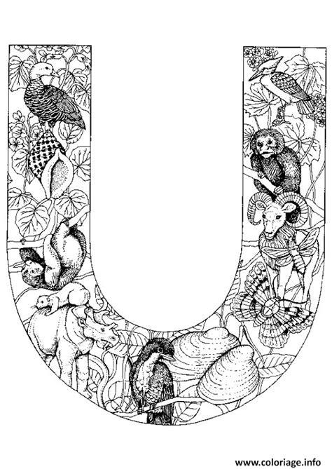 Coloriage lettre u alphabet animaux - JeColorie.com