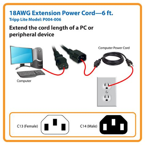 tripp lite 6ft computer power extension cord 10a 18 awg c14 c13 orange 6 rallonge de cable d tripp lite standard computer power extension cord 10a 18awg iec 320 c14 to iec 320 c13 6