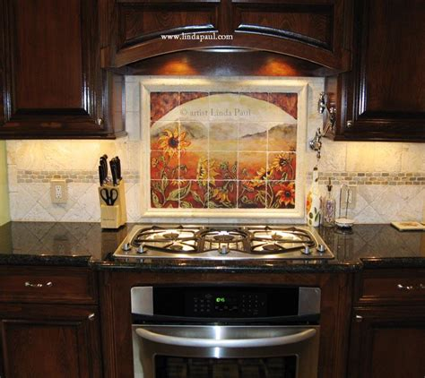 Kitchen Mural Backsplash Sunflower Kitchen Decor Tile Murals Western Backsplash Of Sunflowers