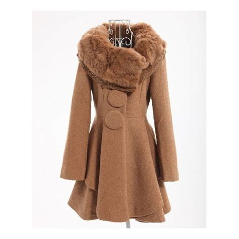 camel swing coats for ladies plus size winter fox furry collar swing lap coat camel