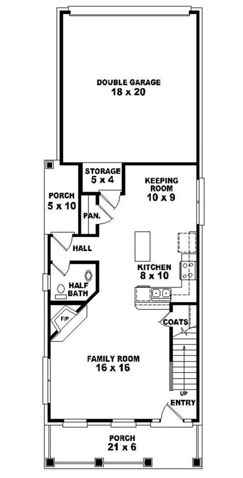 653437 2 story traditional narrow lot house plan single