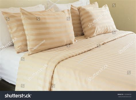 comfortable bed pillows comfortable soft pillows on bed stock photo 132304532