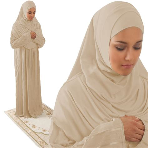 Dress Muslim Elvisa Set Amade S One Prayer Dress Beige Abaya Gift Set