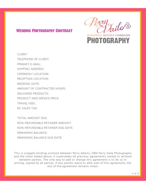 wedding photography contract template resume writing fees worksheet printables site